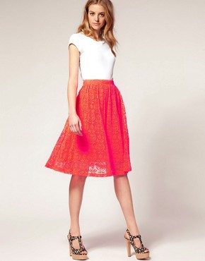 Image 1 of&#160;ASOS Neon Lace Midi Skirt