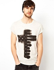 ASOS T-Shirt With Spray Paint Cross Print