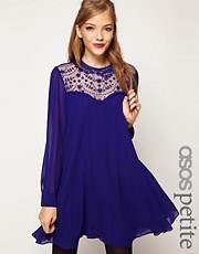ASOS PETITE - Vestito svasato con inserto in pizzo e colletto alla Peter Pan