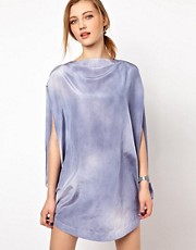 White Tent Circle Dress in Cloud Print Silk Cotton