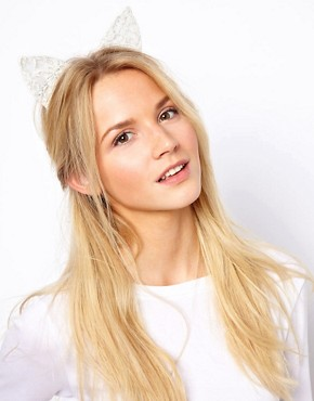 Image 1 ofASOS Cat Ears Lace Headband