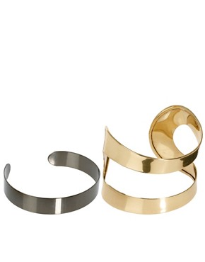 Image 1 ofASOS 2 Pack Open &amp; Smooth Cuff Bracelet