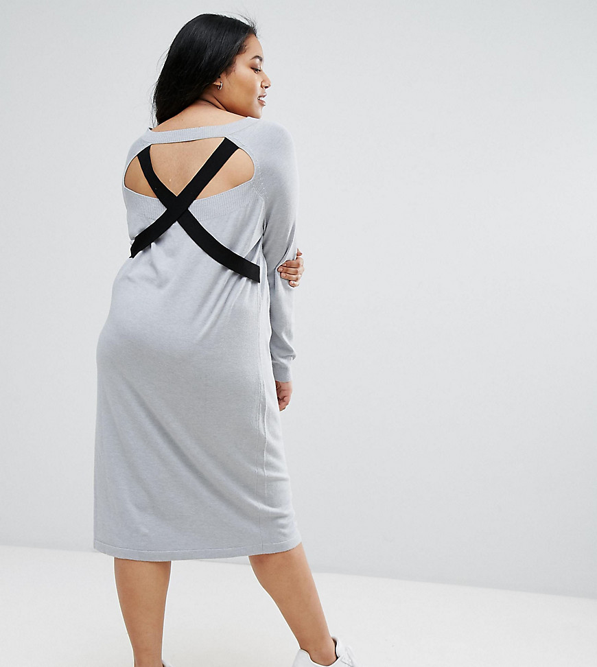 ASOS CURVE Knitted Dress with V Neck and Strap Detail