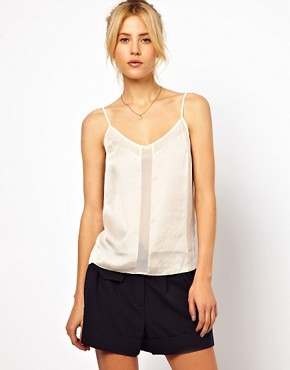 Image 1 ofASOS Cami With Skinny Straps And Mesh Panel