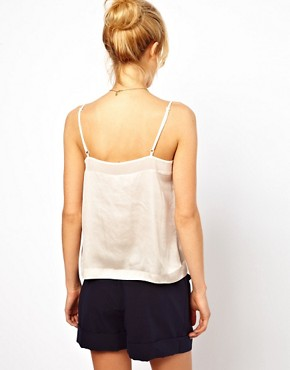 Image 2 ofASOS Cami With Skinny Straps And Mesh Panel