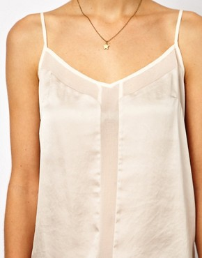 Image 3 ofASOS Cami With Skinny Straps And Mesh Panel