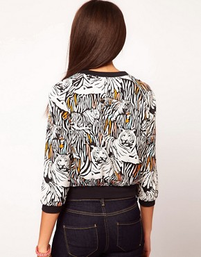 Image 2 ofRiver Island Tiger Print Bomber Jacket