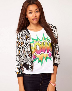 Image 1 ofRiver Island Tiger Print Bomber Jacket
