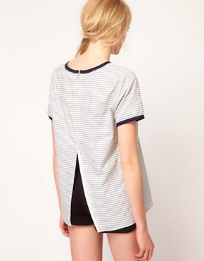 Image 2 ofUnited Bamboo Top In Stripe With Split Back
