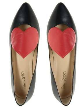Image 3 ofPeter Jensen Exclusive Colour Block Heart Ballet Pump