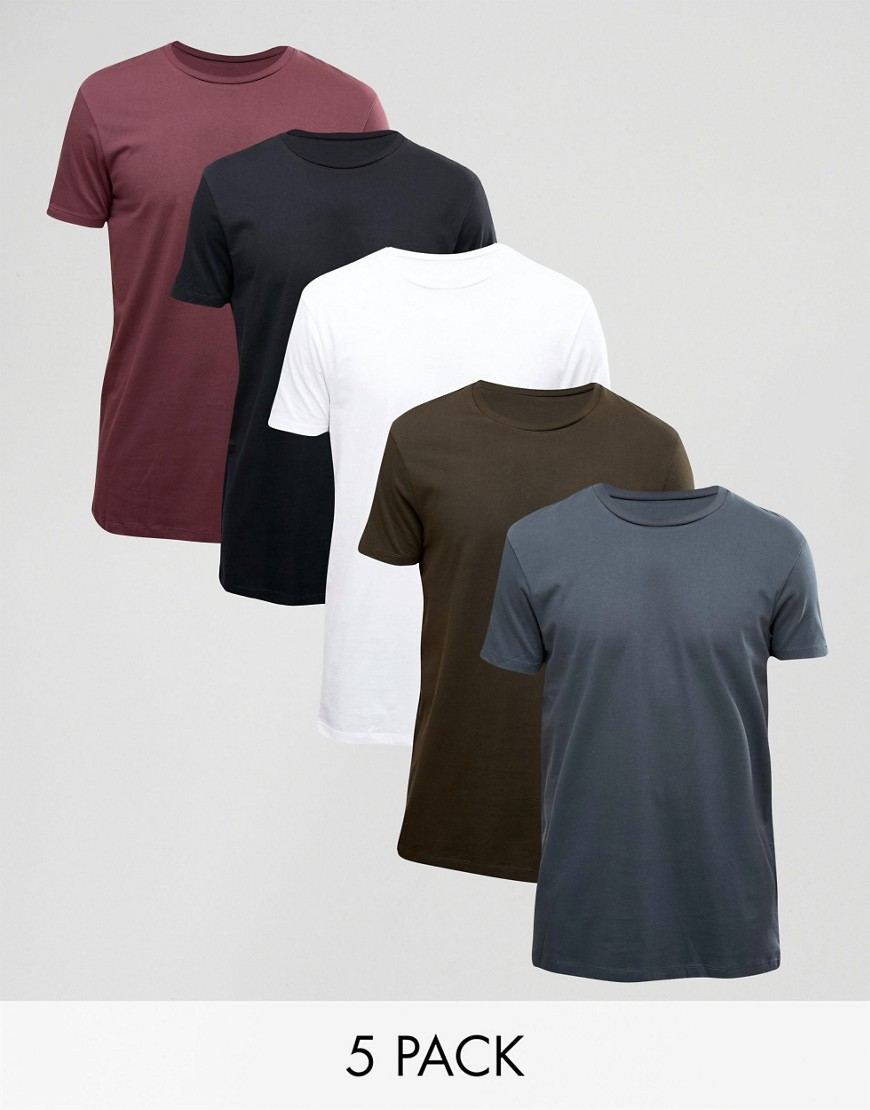 ASOS 5 Pack Longline T-Shirt SAVE - Multi