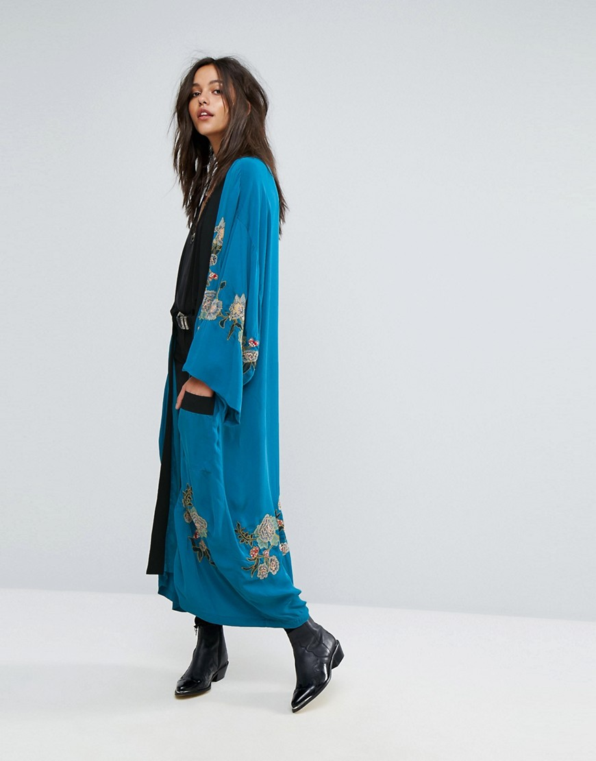 Free People Floral Embroidered Kimono - Turquoise