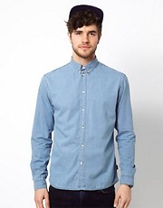 Paul Smith Jeans Denim Shirt with Floral Trim Cuff