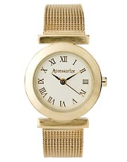 Accessorize Ladies Gold Mesh Bracelet Watch