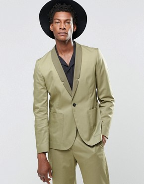 Religion Straight Blazer In Cotton In Khaki