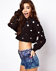 ASOS Cropped Sweatshirt with Mirror Embellishment
