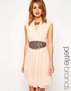 Little Mistress Petite Embellished Waist Skater Dress