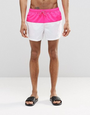 ASOS Short Length Swim Shorts In White With Neon Pink Panel