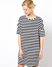White Tent T-Shirt Dress in Striped Japanese Cotton