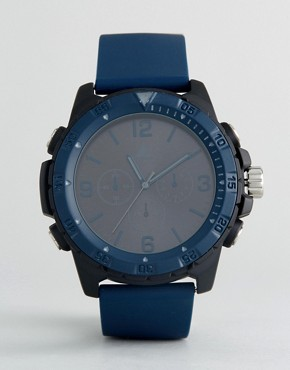 ASOS Oversized Rubberised Watch In Navy And Black