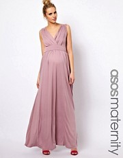 ASOS Maternity Exclusive Jersey Maxi Dress In Grecian Drape