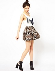Oh My Love Leopard Skater Skirt