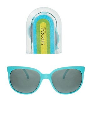 Image 2 ofSunpocket Matte Turquoise Sport Foldaway Sunglasses