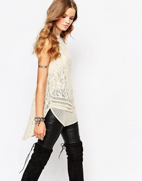 Free People Halter Neck Tunic With Lace And Mesh Inserts