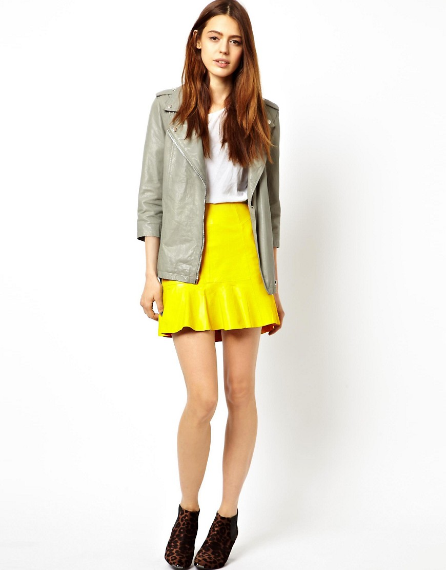 HIDE Mini Skirt with Flared Hem - Yellow
