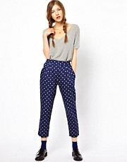 People Tree Organic Cotton Square Print Trousers
