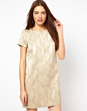 Image 1 ofFrench Connection Metalic T-Shirt Dress
