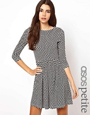 ASOS PETITE Skater Dress In Checkerboard Print