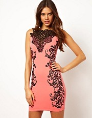 Lipsy Lace Neck Dress with Emboss Detail