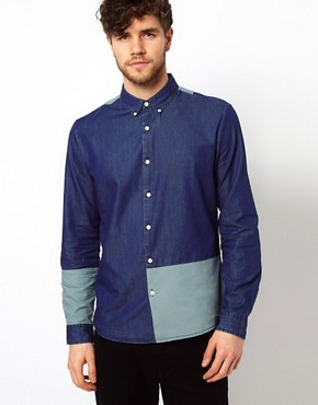 Image 1 ofASOS Denim Shirt With Cut And Sew