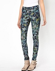 Vero Moda Flower Print High Waisted Denim Jean