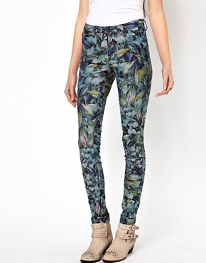 Image 1 ofVero Moda Flower Print High Waisted Denim Jean