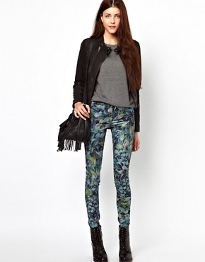 Image 4 of Vero Moda Flower Print High Waisted Denim Jean