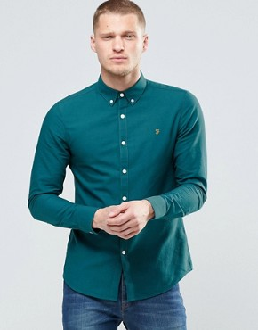 Farah Oxford Shirt In Slim Fit Green