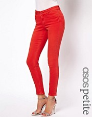 Esclusiva ASOS PETITE - Ridley - Jeans ultra skinny rossi morbidissimi a vita alta