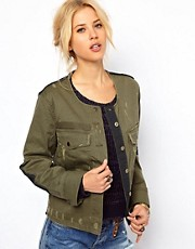 Free People Military Jacket with Contrast Panelling