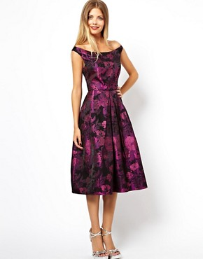 Image 1 of ASOS Purple Flower Bardot Midi Dress