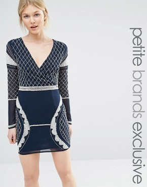 Maya Petite Long Sleeve Plunge Mini Dress With Patterned Beaded Embellishment