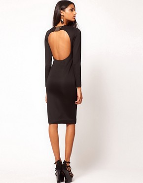 Image 1 ofAqua Caline Buckle Open Back Pencil Dress