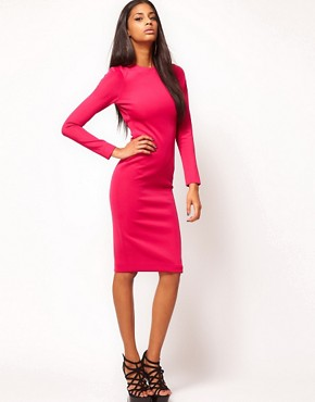 Image 4 ofAqua Caline Buckle Open Back Pencil Dress