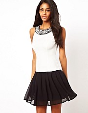 Elise Ryan Pearl Collar Drop Waist Dress