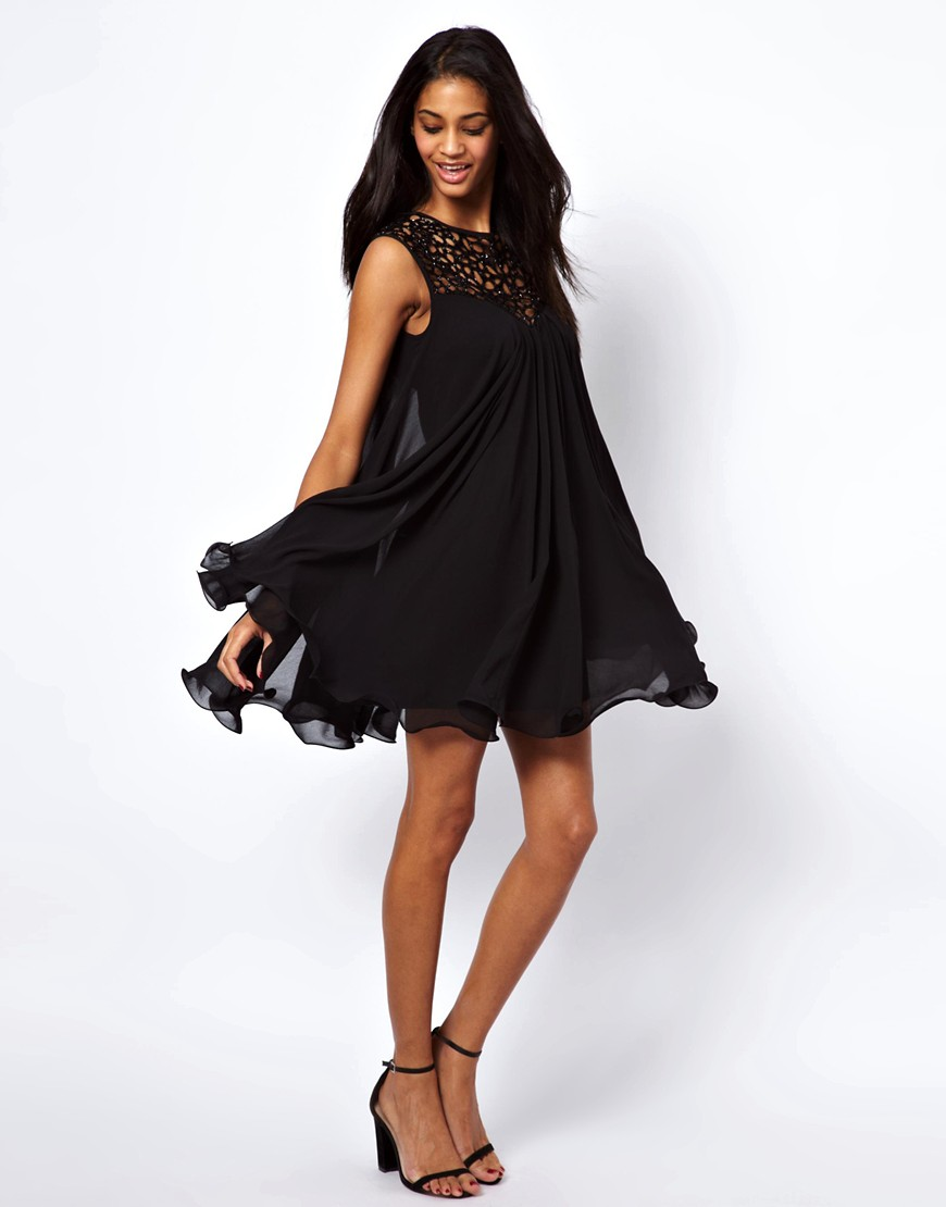 Image 4 of Lipsy VIP Trapeze Swing Dress with Cage Neck