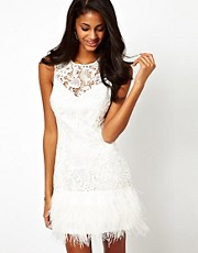Lipsy VIP Feather Trim Dress