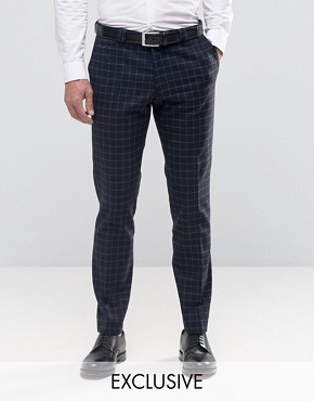 Noak Skinny Trousers in Grid Check