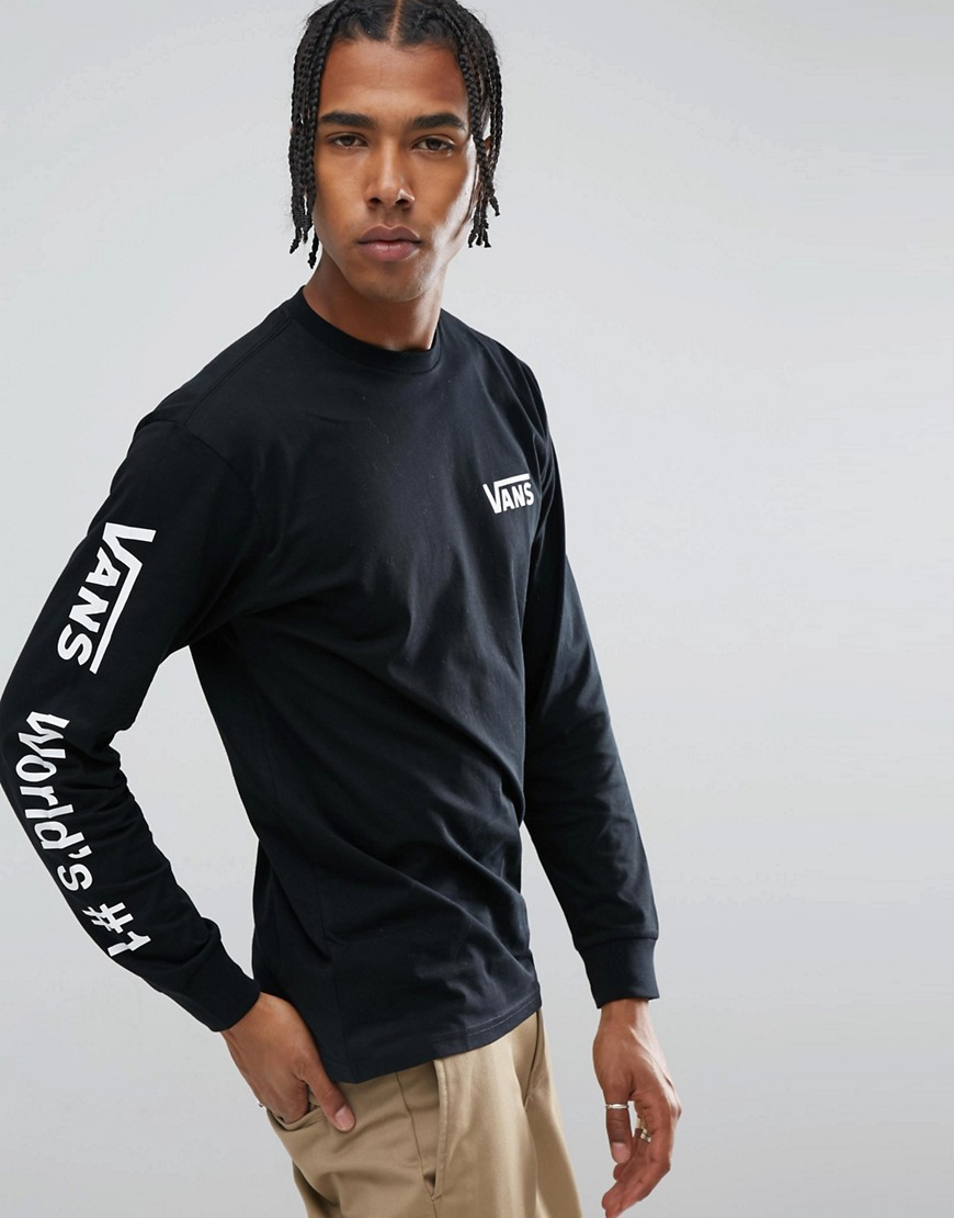 Vans World No1 Long Sleeve T-Shirt With Arm Print In Black VWDTBLK - Black