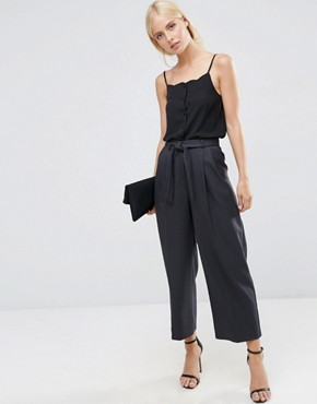 ASOS Culotte with Tie Waist in Mini Check